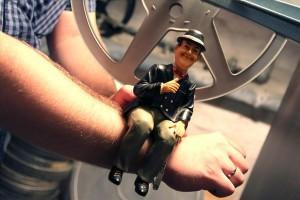 Stan Laurel wacht über die Filmschätze in der zukünfigen Filmlounge. (Foto: Björn Othlinghaus)