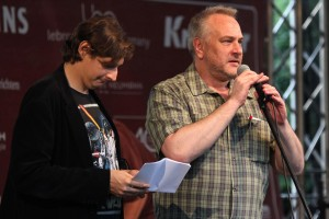 Fabian Paffendorf und Christian Michael Donat lieferten amüsante Wortbeiträge. (Foto: Björn Othlinghaus)