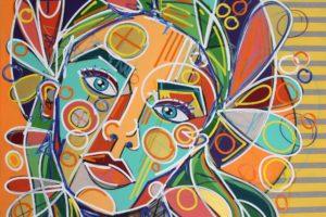 Farbenprächtige Frauenportraits mit kühnem grafischen Ausdruck sind die Spezialität des Künstlers. (Foto: Björn Othlinghaus, Gemälde: David Tollmann)